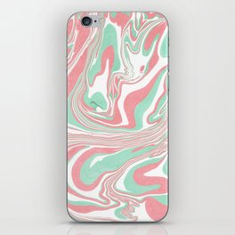 Elegant pink green abstract watercolor marble iPhone Skin