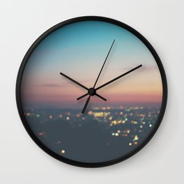 Looking down on the lights of Los Angeles as night. Wall Clock