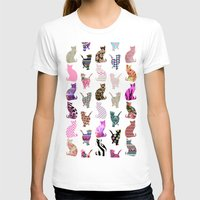preppy T-shirts featuring Girly Whimsical Cats aztec floral stripes pattern by Girly Trend