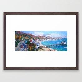 Malibu Pier Blue Framed Art Print
