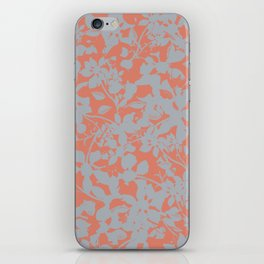 Floral Silhouette Pattern - Broken but Flourishing in Coral iPhone Skin