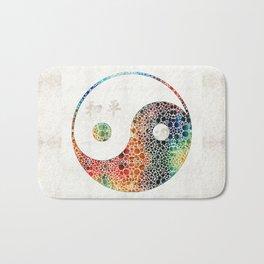 Yin And Yang - Colorful Peace - By Sharon Cummings Bath Mat