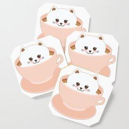 Cute Kawai cat in pink cup Coaster