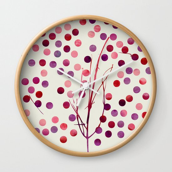 Tree of Life_Berry by Jacqueline & Garima Wall Clock