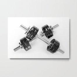 Crossed chrome hand barbells Metal Print