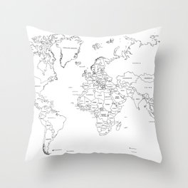 Paint your World Map Throw Pillow