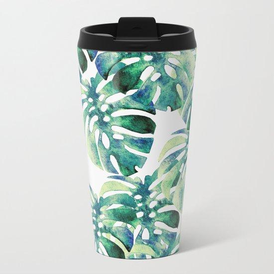 Monstera Pattern Green Metal Travel Mug