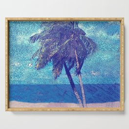 Stormy day at the beach Palm trees Serving Tray