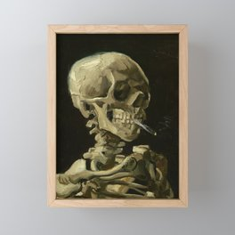 SKULL OF A SKELETON WITH BURNING CIGARETTE - VINCENT VAN GOGH Framed Mini Art Print