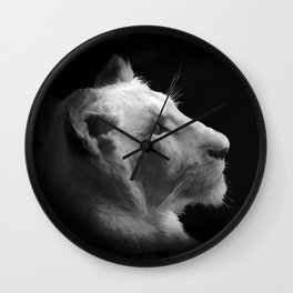 Wild White Lion Portrait Wall Clock