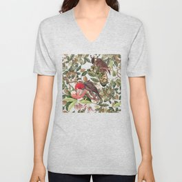 COCKATOO IN THE TROPICAL JUNGLE Unisex V-Neck