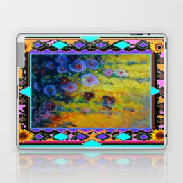 Blue Hollyhock Painting in Western Style Design Laptop & iPad Skin