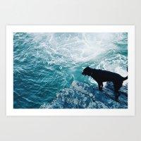 Black Dog on the Ocean Art Print