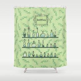 Bottles on shelves Shower Curtain