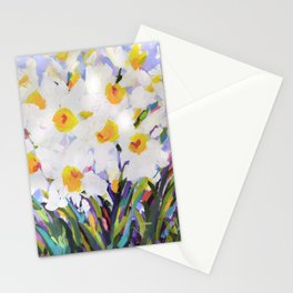 White Daffodil Meadow Stationery Cards