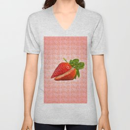 Sliced Strawberry Unisex V-Neck