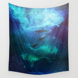 Mystic Dolphins Underwater Scenery Wall Tapestry