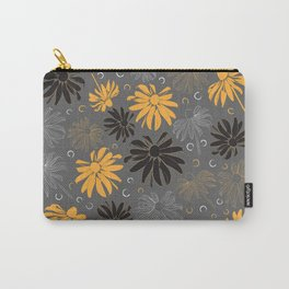 Floral pattern of Blackeyed Susans on dark grey Carry-All Pouch
