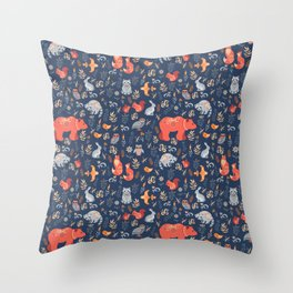 Fairy-tale forest. Fox, bear, raccoon, owls, rabbits, flowers and herbs on a blue background. Seamle Throw Pillow