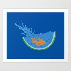 Watermelon Dive Art Print