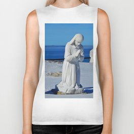 Religious Statues by the Sea Biker Tank