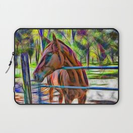 Abstract horse standing at gate Laptop Sleeve