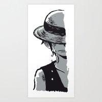 luffy Art Prints featuring Sad Luffy by cici22