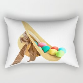 Colored Easter Eggs and woman hat Rectangular Pillow