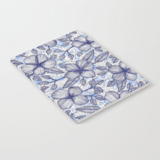 Indigo Summer - a hand drawn floral pattern Notebook
