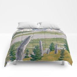 Vintage Mount St. Helens Travel Poster Comforters
