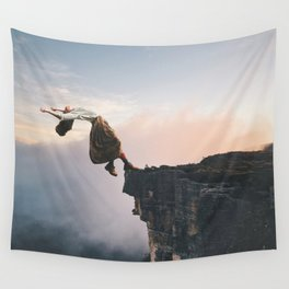 Up in the Clouds-Surreal Levitation Off a Cliff Wall Tapestry