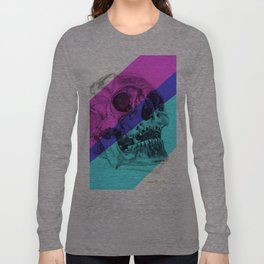 Skull pencil drawing with colour Long Sleeve T-shirt