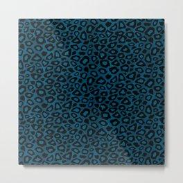 Teal Leopard Animal Pattern Metal Print
