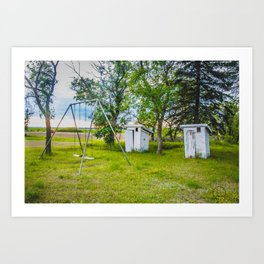 Outhouses and Swingset at the Church, North Dakota 1 Art Print