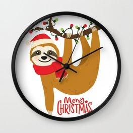 Sloth Merry Christmas Shirt, Lazy Sloth Christmas Wall Clock
