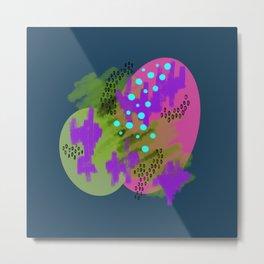 Catalina Blue Circles & Scribbles Metal Print