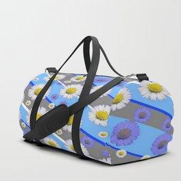 DECORATIVE DIAGONAL PATTERN BLUE MODERN ART WHITE SHASTA DAISIES Duffle Bag