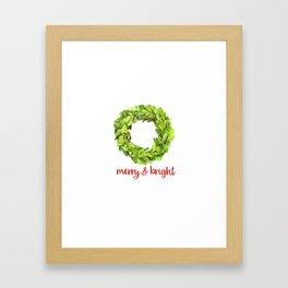 Merry & Bright Christmas Boxwood Wreath Framed Art Print