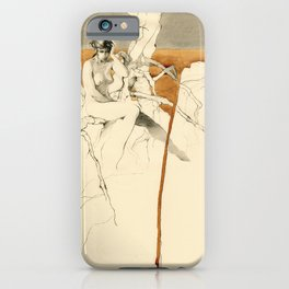 Nude Female Figure Drawing and Tree with Copper Grey Watercolour iPhone Case