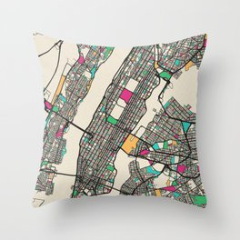 Colorful City Maps: Manhattan, New York Throw Pillow