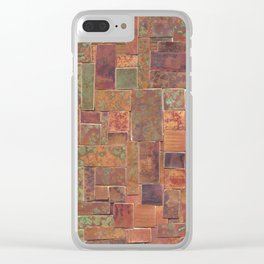 Red Patina Patchwork Clear iPhone Case