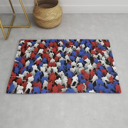 Red blue white hockey players Rug