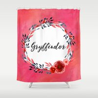 gryffindor Shower Curtains featuring HP Gryffindor in Watercolor by Snazzy Sisters