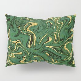 Luxury Marble Pattern in Emerald, Gold, Green and Copper Pillow Sham