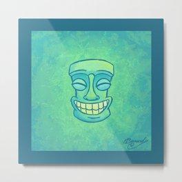Smiley Tiki Metal Print