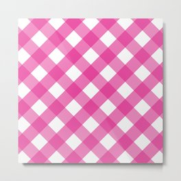 Pink & White Checkered Pattern-Mix and Match with Simplicity of Life Metal Print
