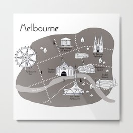 Mapping Melbourne - Grey Metal Print