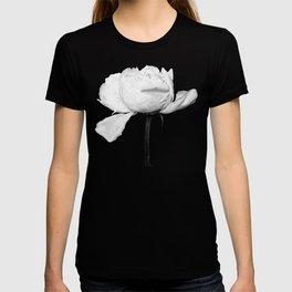 White Peony Black Background T-shirt