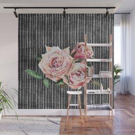 Watercolor Flowers on Dark Burned Wood Wall Mural