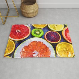 Colorful Citrus & Kiwi Club - For Fruit Lovers Rug